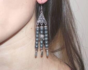 "Earrings grey Hematite beads ""Anil"""
