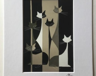 El Gato Gomez Mod Two Tone Art Print