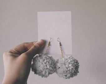White with Gold Fleck Pom Pom Earring