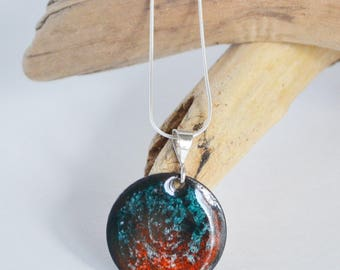 Red, Brown and Turquoise Enamel Pendant Necklace