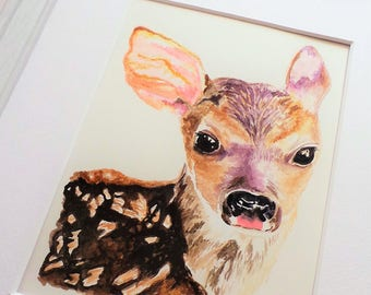 Deer Art Deer Painting Deer Print Baby Deer Watercolor Baby Animal Painting Baby Deer Nursery Art Woodland Animal Forest Animal Fawn Decor