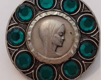 Religious French antique silvered brooch of Holy Mary Our Lady with green stones