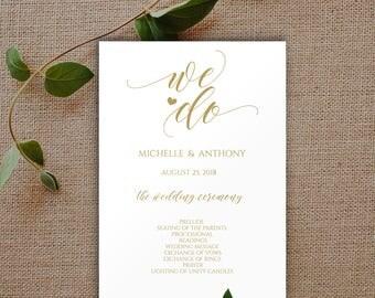 We Do Program, Gold Wedding Program, Gold Wedding Program Template, Gold Wedding, Wedding Program, Program Template, Wedding Ceremony, 0017