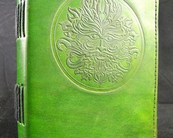 Small Handmade Leather Journal Diary with Hand-Tooled Wicca Green Man