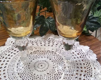 2 Gold wine/water goblets