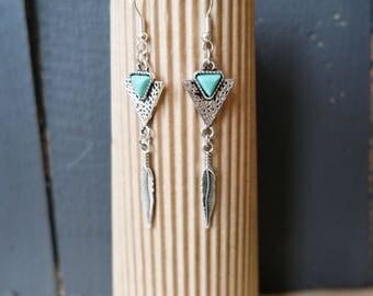 """Bohemian earrings ear """"Indira"""" - turquoise earrings - fashion earrings"""
