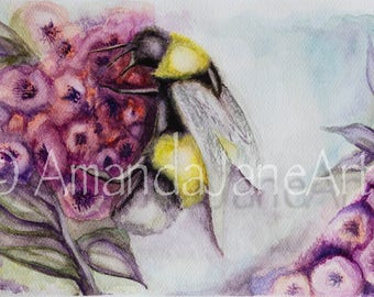 Bumble bee on flower, painting ,picture ,print, watercolour,art, gift