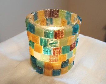 Teal and Gold Candle Votive