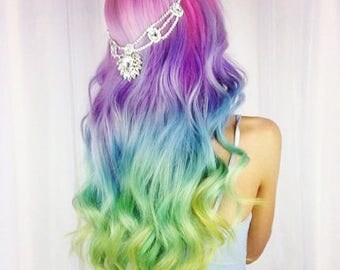 "18"" UNICORN RAINBOW Pink Purple Blue Green Yellow Mermaid Ombre Real Human Hair Extensions Clip In Extensions  Festival Hair Weave"