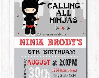 Ninja Invitation, Ninja Birthday, Ninja Party, Printable