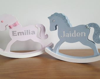 Rocking horse etsy personalised wooden rocking horse new baby gift negle Image collections
