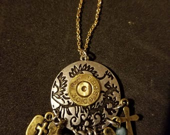 Charm necklace with a 30 30 recycled bullet casing