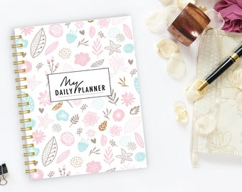 Daily Planner Notebook, spiral notebook, Writing journal, personalized, cute journal, diary, sketchbook, unicorn, floral  - My Daily Planner
