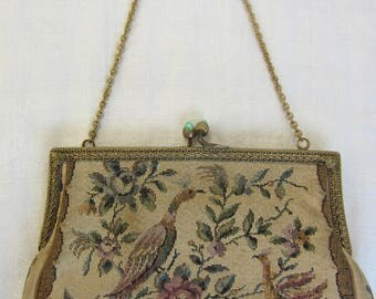 A small gobelin bag / handbag / evening bag / purse with a chain 1800s