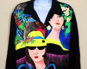 Women's Kolorway Wearable Art Long Sleeve Black Button Down Blouse Top Shirt Marked Smal but is Large