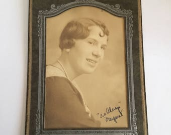 As Always MARGARET - Lady -  1900s-1920s Antique Cabinet Card Photograph