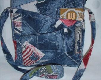 //Sac shoulder bag / / satchel bag / / hand bag / / printed cotton denim / / * bag Denim flag *.