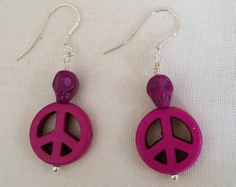 Small Skull on Peace Sign Earrings