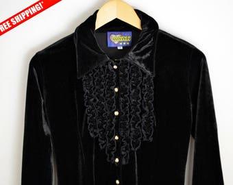 Velvet Blouse women S 90s blouse Vintage Velvet Blouse, Black blouse, Fringe blouse, Velvet blouse, 90 shirt Black velvet, 90s shirt
