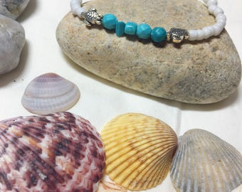 Teal and White Sea Turtle Bracelet