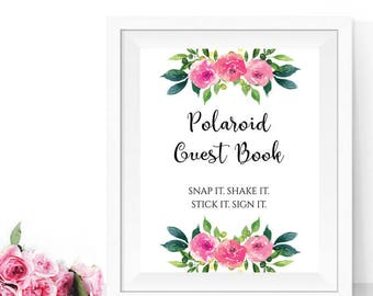 Polaroid guest book sign, Wedding guest book polaroid, PRINTABLE photo guest book, Wedding photo guest book sign, Wedding guest book sign