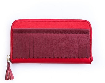 Classic red fringe leather wallet