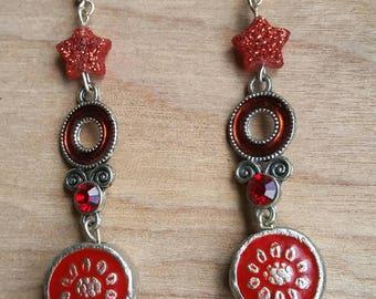 Red Glittery star dangle earrings