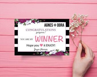 Agnes and Dora Winner Card, Winner Card Agnes and Dora, Custom Agnes And Dora, Digital Agnes and Dora, Printable File