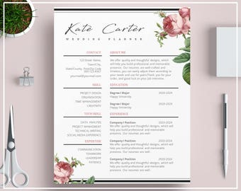 Pink Vintage Roses Floral Resume Template CV Template Creative Modern Design With Cover Letter, Social Media Icons For Word And Pages SKU042
