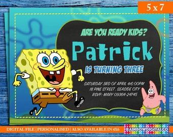 Spongebob Birthday, Spongebob Birthday Invitation, Spongebob Invitation, Spongebob Party,  Birthday Printables