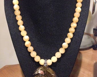 Calcite Necklace with Glass Gold Large Leaf Pendant