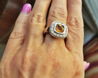Antique/vintage Citrine and diamond stering silver ring circa 1940's