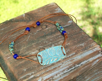 Rustic Owl Beaded Choker Necklace