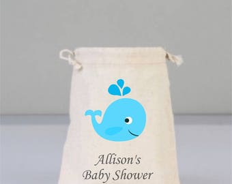 Personalized Baby Shower Pouch with Blue Whale, Baby Shower Decorations,  Baby Shower Party, Boy Baby Shower, Cotton Bag Drawstring
