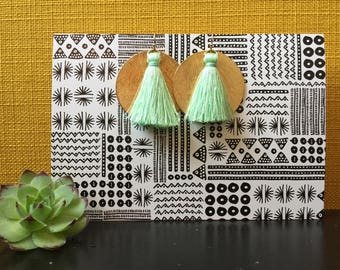 Gold Disk & Mint Green Tassel Earrings