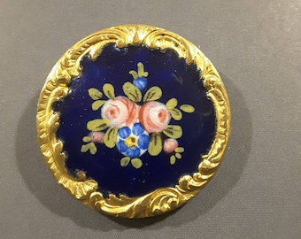 Hand painted flowers on PARIS marked button, 1900s.