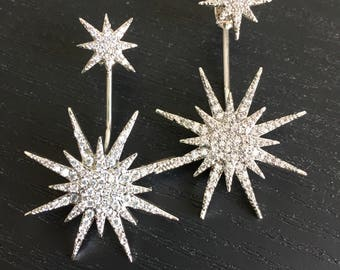 Allergy Free 925 Silver Crystal Paved Modern Star Burst Earrings with Detachable Studs