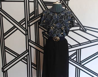 Vintage 1980s Boho Indonesian maxi dress - floral lace - see through - sheer