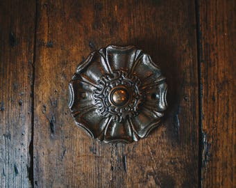 Antique Style Door Bell  with Antique Brass Button Epleworth Decorative Design Bell Push