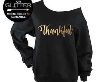 Thankful Shirt for women - Off Shoulder Raw Edge Sweatshirt - grateful - blessed - thanksgiving  (BD814) SHOWN BLACK 562