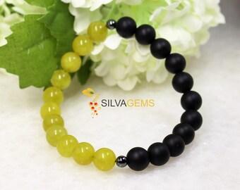 Olive Jade, Hematite and Matte Black Onyx Gemstone Beaded Stretch Handmade Bracelet. Onyx Jewellery. Green Bracelet. Black Bracelet.