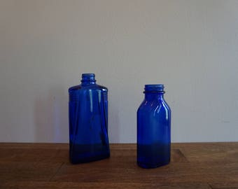 Vintage Blue Glass Apothacary Pharmacy Bottles Set of 2 Phillips Milk of Magnesia