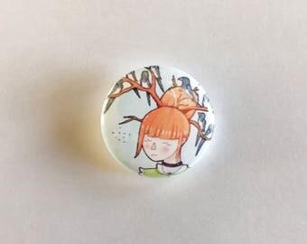 1 Inch Pinback Button | Magpie | Girl | Surrealism | Fantasy | Illustration | Birds | Original Art