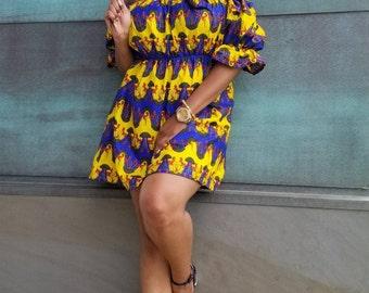 Yellow & blue cold shoulder ankara dress
