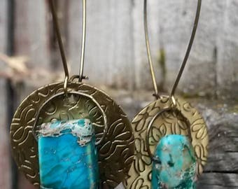 Turquoise Stone and Floral Metal Drop Earrings