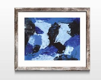 Bold Abstract art, DIGITAL DOWNLOAD, Blue Storm