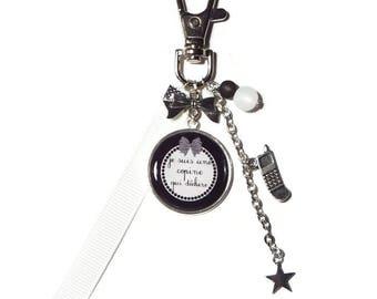 "Key - friend/girlfriend gift bag charm ""I'm a friend who rocks"" keychain black and white"