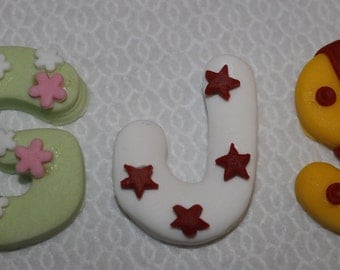 Bespoke. Hand crafted edible decorated large letters for birthday/cupcakes, approx 4cm in height