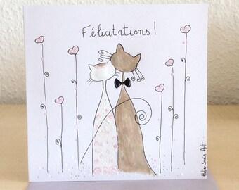 Handpainted - cat card - congratulations card - wedding card wedding card