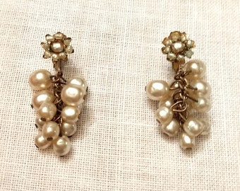 Signed Miriam Haskell Pearl Cluster Drop Earrings